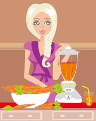 Girl blending carrot juice