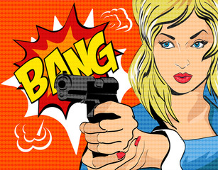 Pop art style vector illustration.  Woman with gun.