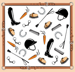 Horse riding tack in leather belt frame. Vector bit, whip, brush, horseshoe, riding boot, snaffle. Equine background.