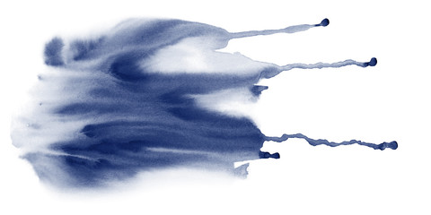 Indigo fluid watercolor stains texture with drib. Abstract hand painting background on white.