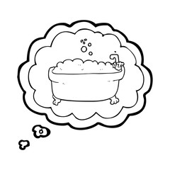 thought bubble cartoon bathtub