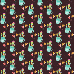 Photo sur Aluminium Hibou Seamless pattern with cups of tea on a dark background