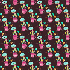 Poster de jardin Hibou Seamless pattern with cups of tea on a dark background