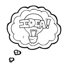 thought bubble cartoon idea light bulb symbol