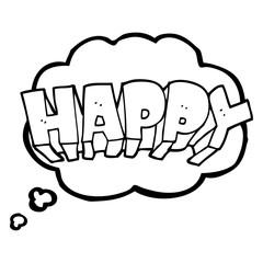 thought bubble cartoon word happy