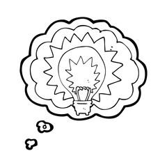 thought bubble cartoon light bulb shining