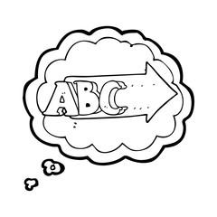 thought bubble cartoon ABC symbol