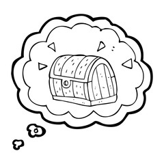 thought bubble cartoon treasure chest
