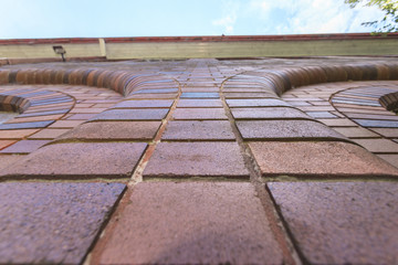 a close up to the brick wall