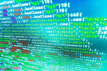 Software background. Programming code on computer screen.  Website codes on computer monitor. Programmer developer screen. (Code is my own property there is no risk of copyright violations)