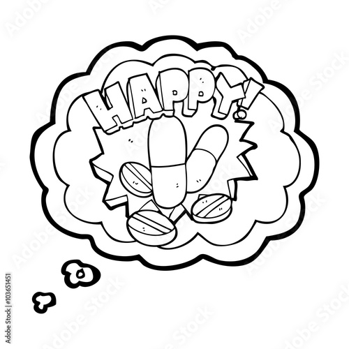 Thought Bubble Cartoon Happy Pills Stock Image And Royalty Free