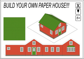 Paper Model House Template Paper model of  cartoon house. Do it yourself. Isolated vector illustration on white background.