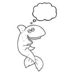 thought bubble cartoon laughing shark