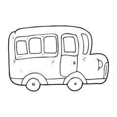 black and white cartoon yellow school bus