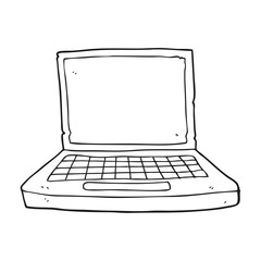 black and white cartoon laptop computer