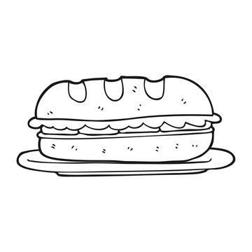 black and white cartoon sub sandwich