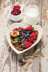 Granola, yogurt, berries and nuts. healthy breakfast. Super Foods