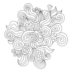 Hand drawn black and white zentangle element