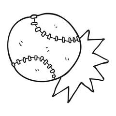 black and white cartoon baseball ball