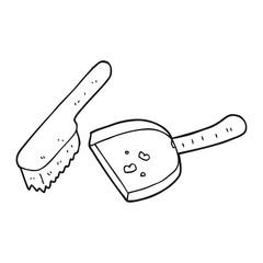 black and white cartoon dust pan and brush