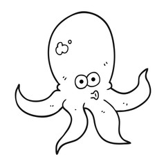 black and white cartoon octopus