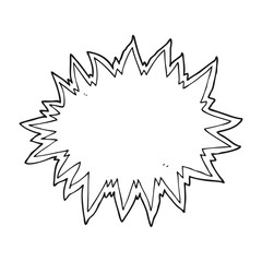 black and white cartoon explosion sign