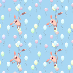 Seamless pattern. Jerboa flying on balloons in the sky.