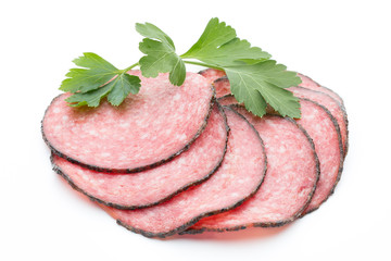 Sausage slices isolated on white background cutout.