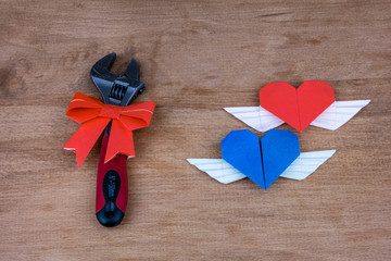 Adjustable wrench with hearts. A gift on Valentine's Day. Gift for a real man. .The key to a man's heart.