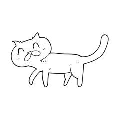 black and white cartoon cat