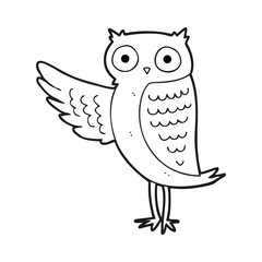 black and white cartoon owl