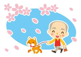 桜吹雪 ワンちゃんとお爺ちゃん