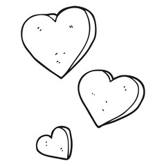 black and white cartoon hearts