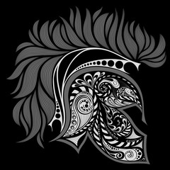 Abstract vector helmet of Achilles on a black background