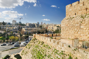 The walls of Old Jerusalem city and view to the city landscape.