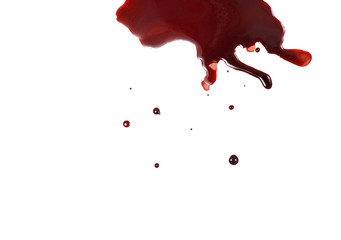 Still Life of a Pool of Blood on a White Background