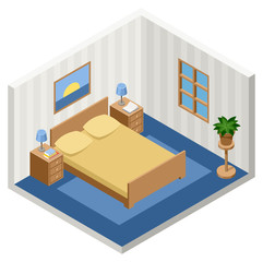 Vector interior of the isometric bedroom with furniture