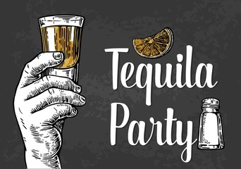 Male hand holding a shot of alcohol drink. Vintage vector engraving illustration for label, poster, invitation to a party. Tequila party