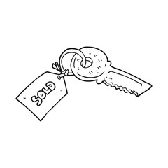 black and white cartoon key with sold tag