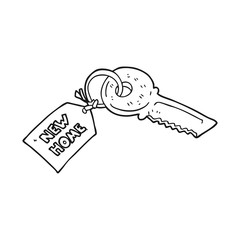 black and white cartoon house key with new home tag