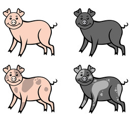 Pink, black and spotted pigs set