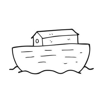 black and white cartoon noah's ark