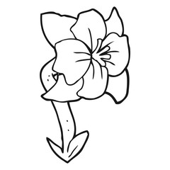 black and white cartoon flower