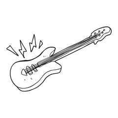 black and white cartoon electric guitar
