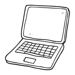 black and white cartoon laptop computer with heart symbol on scr