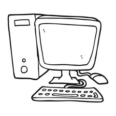 black and white cartoon desktop computer