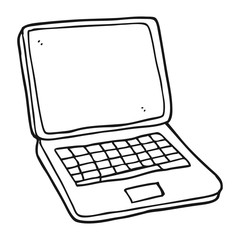black and white cartoon laptop computer