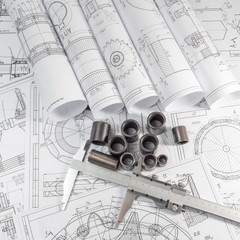 Technical drawing and caliper parts - steel bushings