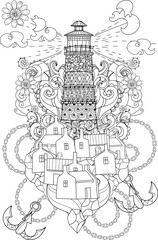 Hand drawn doodle outline lighthouse decorated with floral ornaments.Vector zentangle illustration.Floral ornament.Sketch for tattoo, poster or adult coloring pages.Boho style.