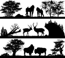 wild animals (monkey, deer, musk ox) in different habitats